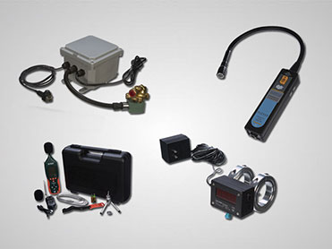 Compressed Air Optimization products including compact sound meter, PLCFC control system, and an Ultrasonic Leak Detector