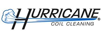 "Logo for Hurricane Coil Cleaning. An Image that says ""Hurricane"" in all caps with wind blowing through the letter ""H"". In small writing beneath ""Hurricane"" it reads ""Coil Cleaning"""