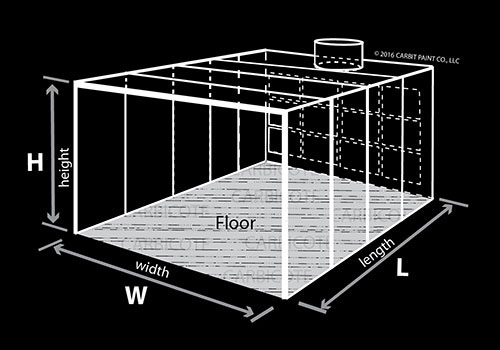Diagram of open face booth showing three walls, ceiling, and floor option.